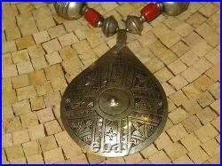 Moroccan Berber Tuareg Engraved Silver round pendant Necklace Tuareg necklace