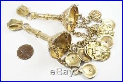 Most Unusual Antique / Vintage Ethnic Silver Very Long Drop Earrings