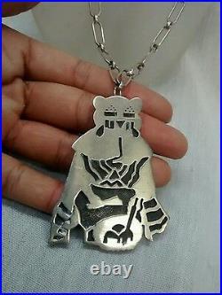 Native American Hopi Manuel Hoyungowa Sterling pendant /pin necklace