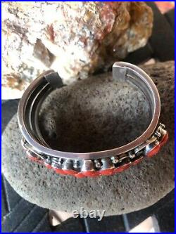 Native American Indian Navajo Lee Bennett Coral & Sterling Silver Cuff