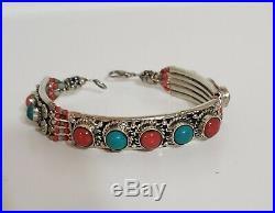 Native American Navajo Silver Turquoise & Coral Bracelet
