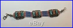 Native American Navajo Silver Turquoise & Coral Bracelet Made in USA