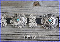 Native American Vintage Navajo Silver & Turquoise Concho Belt By Roger Skeet Jr