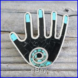 Native American Vintage Santo Domingo Turquoise Hand Pin/pendant By Mary Lovato