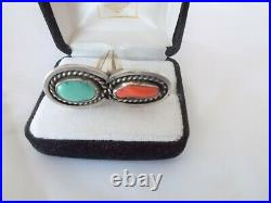 Native American sterling silver, turquoise & coral stones ring, silver ring, 7