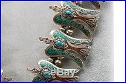Navajo Sterling Silver Turquoise Coral Peyote Bird Squash Blossom Necklace