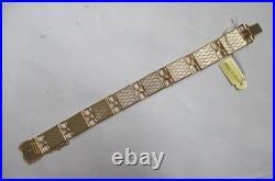 New Old Stock 18K & 24K inlay Flower Bird Bracelet with Tag Certificate Spain Vtg