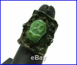 OLD SILVER Green TURQUOISE FROG FETISH Adjustable Ring 7.7 GRAMS SIGNED
