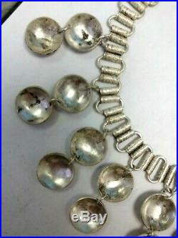 OLD TESTED SOLID SILVER NECKLACE 16 LINK & LOOP With7 DOUBLE ETCHED DROPS 3/4 ea