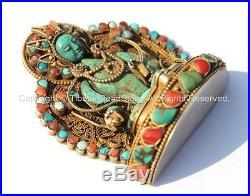 OOAK Vintage Tibetan Goldplated Silver & Carved Old Turquoise Tara Figure
