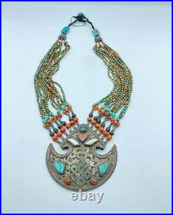 Old Antique Hand Made Nepali Tibetan Vintage Jewelry Silver Turquoise Necklace
