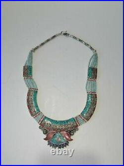 Old Antique Nepali Tibetan Jewelry Silver Turquoise Coral Necklace Handmade
