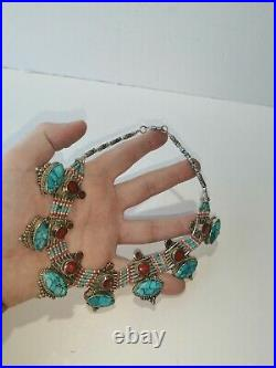 Old Antique Nepali Tibetan Turquoise Coral Silver Necklace Handmade Jewelry