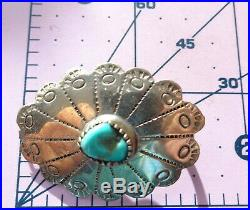 Old Child Pawn Navajo Decorative Sterling Silver Turquoise Gemstone Belt Buckle