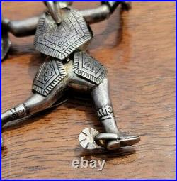 Old Handmade Solid Sterling Silver Ethnic Man in Armor & Spurs with Snake Pendant