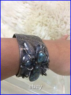 Old Pawn Native American Navajo L. C. Silver Turquoise Spider Web Cuff Bracelet