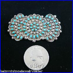 Old Pawn Silver Vintage Zuni Brooch with Turquoise