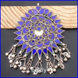 Old Silver Blue Yellow Glass Long Antique Vintage Pendant For GIFT