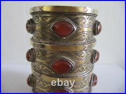 Old Tribal Turkmen Turkoman Carnelian Coin Silver Cuff Bracelet Armband Tekke