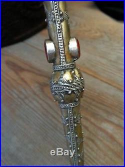 Old Turkmen Judaica. 925 Silver Carnelian Goldwash Gilded Torah Yad Pointer 9.5