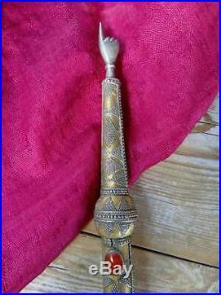 Old Turkmen Judaica. 925 Torah Yad Pointer 9.5 (#6582)