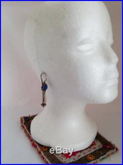 Old Uzbek Fine Silver And Lapis 2.75 Hook Earrings 14 Gauge
