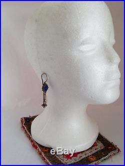 Old Uzbek Fine SilverLapis 2.75 Hook Earrings 14 G Ethnic Silk Road Jewelry