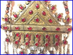 Old Vintage Afghan Huge Turkmen Necklace Gold-Gilded Tomar Statement Boho, 950Gm
