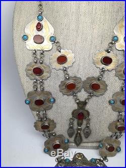 Old Vintage Afghan Turkmen 2 Layers Tribal Gold-Gilded German Silver Necklace, 01