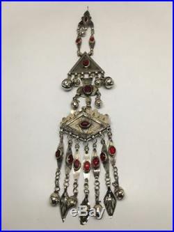 Old Vintage Afghan Turkmen Tribal ATS Tassel Gold-Gilded Pendant/HairClip, TN101