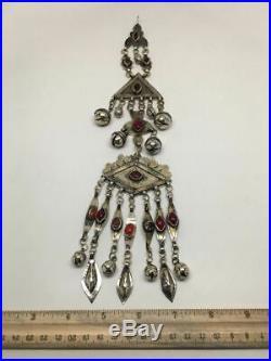 Old Vintage Afghan Turkmen Tribal ATS Tassel Gold-Gilded Pendant/HairClip, TN103