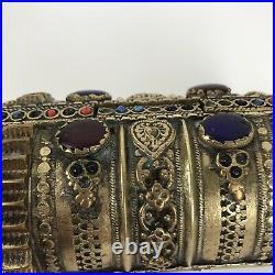 Old Vintage Brass Bracelet Tribal Inlay glass bead Boho Cuff Pakistan