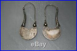 Old Vintage Sterling Silver Tribal Long Stem Earrings Very Unique & Rare