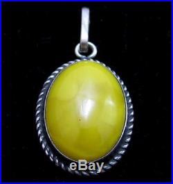 Old Yellow Egg Yolk Amber Vintage Sterling Silver Necklace Pendant925V-8235D