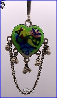 Original Antique Old Silver Waist Key Chain Chhlla Belly Dance Peacock Enamel