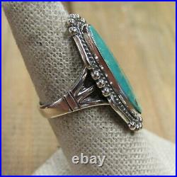 Oval Vintage Sterling Silver Green Turquoise Bell Trading Co. Ring Size 7