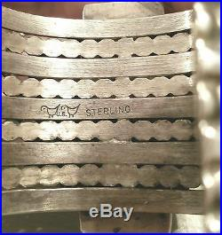 PHENOMENAL Vtg MIKE BIRD ROMERO Sterling Silver/TURQUOISE/AGATE Cuff Bracelet