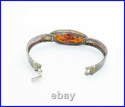 POLAND 925 Silver Vintage Cabochon Cut Amber Dark Tone Bangle Bracelet B8412