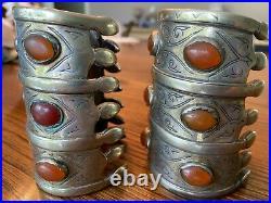 Pair of Turkoman Turkmen Tribal Carnelian Silver on Brass Bracelet Arm Cuffs