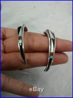 Pretty Native American Zuni sterling turquoise multi stone pierce earrings
