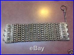 Primitive handmade Antique Silver Bracelet 204.6 grams huge wrist cuff