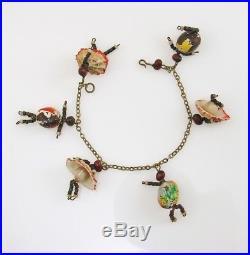 RARE Antique BLACK AMERICAN FOLK ART Figural Dancers Charm Bracelet