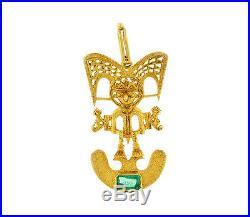 Rare Columbian 18k Yellow Gold And Emerald Shaman Spiritual Man Pendant Necklace