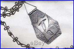 RARE Unusual Vintage sterling silver TRIBAL link SHIELD statement necklace 23