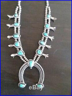 RARE VINTAGE Horseshoe TURQUOISE STERLING SILVER SQUASH BLOSSOM NECKLACE