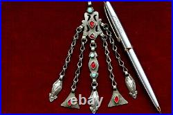 Rare 100 Years Old Turkman Trbal Sold Silver Necklace Penden
