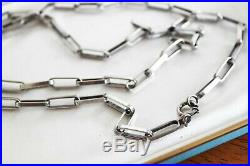 Rare 27.5 OLD Vintage STERLING Silver Wide Rectangle Link Chain 27 g