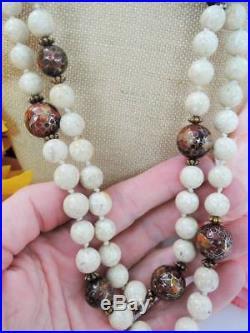Rare 34 In. Dbl Strand Mahogany Figo Fist 18k Jg Markedwhite Marble Necklace
