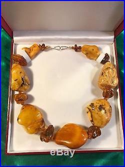 Rare Ancient Huge Butterscotch Amber Necklace & Earrings Set 150 Grams