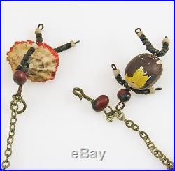 Rare Antique AMERICAN FOLK ART Figural Dancers Charm Bracelet Original